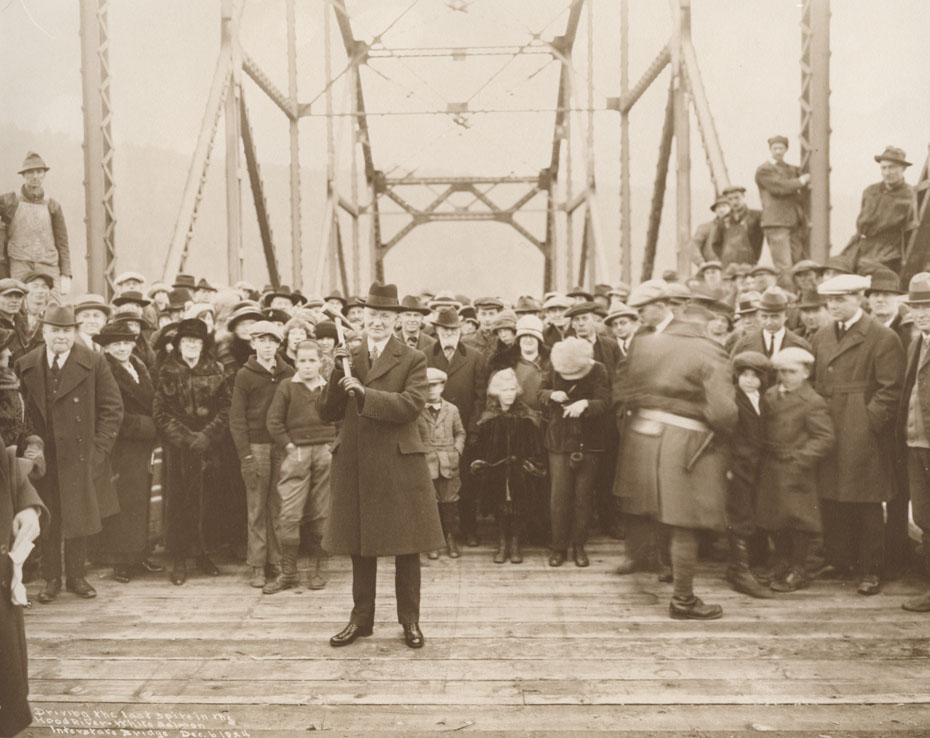 Photo credit: HistoricHoodRiver.com. Leslie Bulter driving the Last Spike. 1924