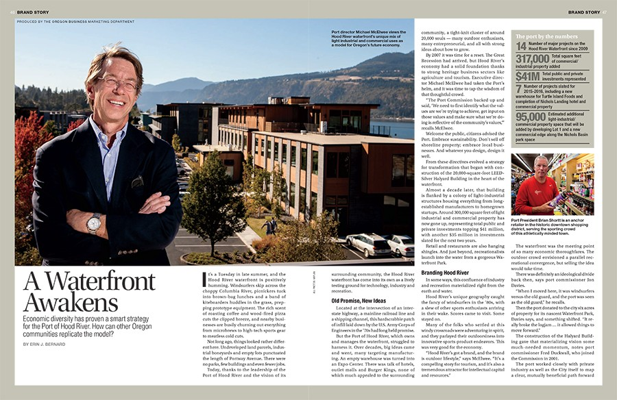 """A Waterfront Awakens"" article about the Port's development of the Hood River waterfront."